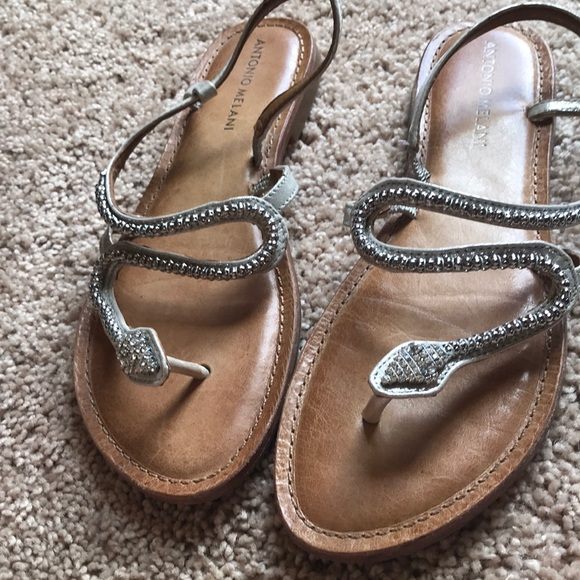 5d1b7716932f ANTONIO MELANI Shoes - Antonio Melani silver snake sandals